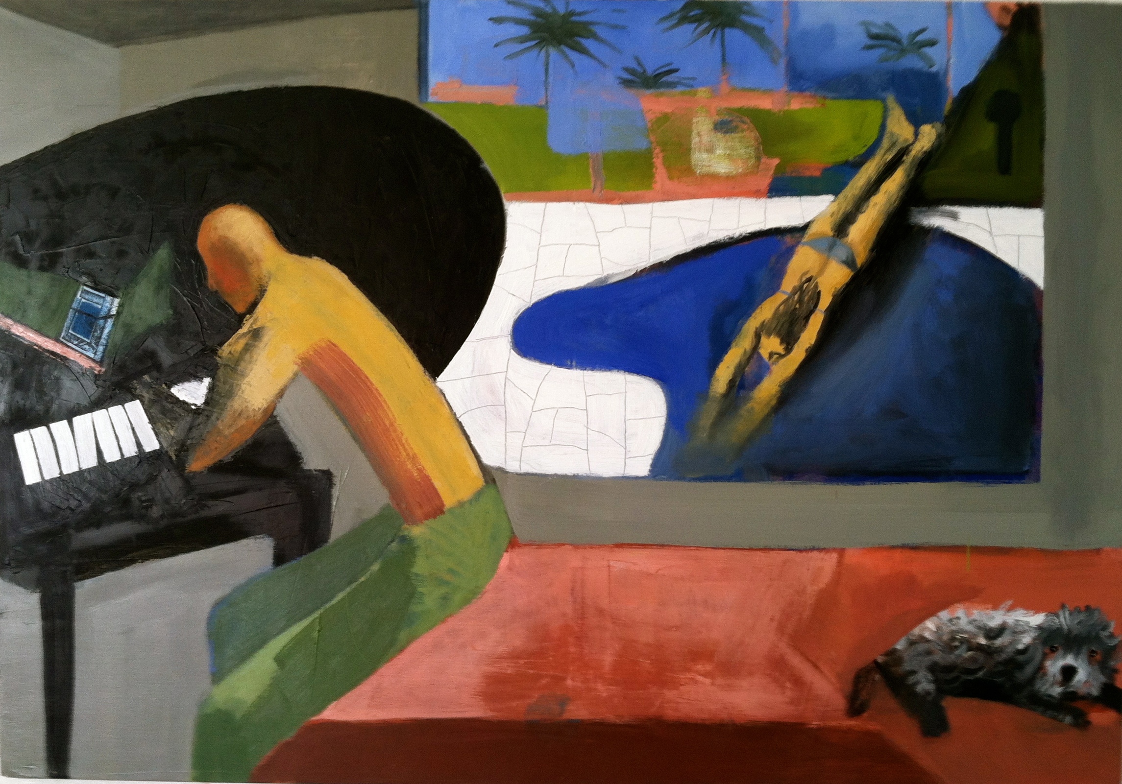 An artist in California, oil on canvas, 52x36 inches, 2014
