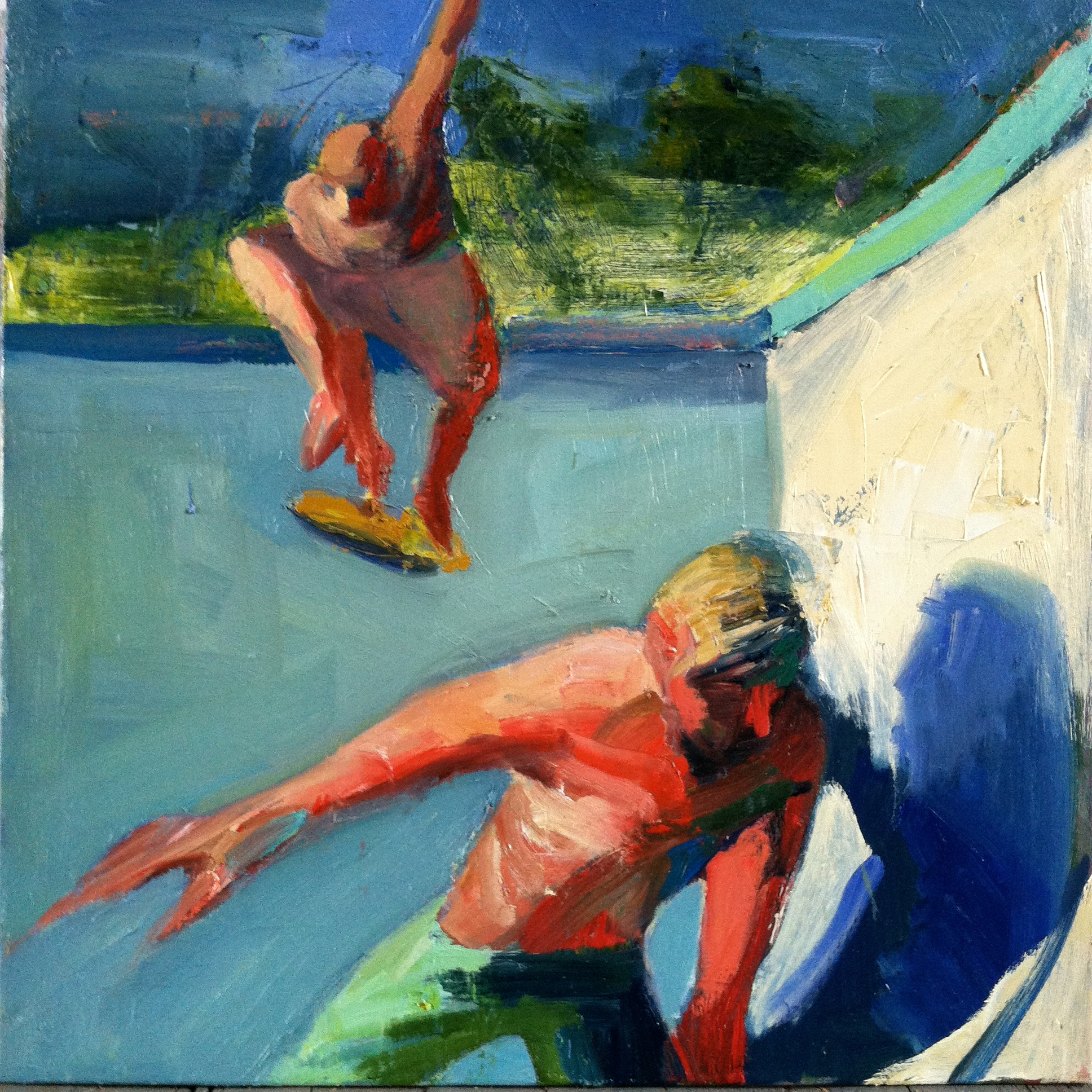 Dropping in, oil on canvas, 30x30 inches, 2016