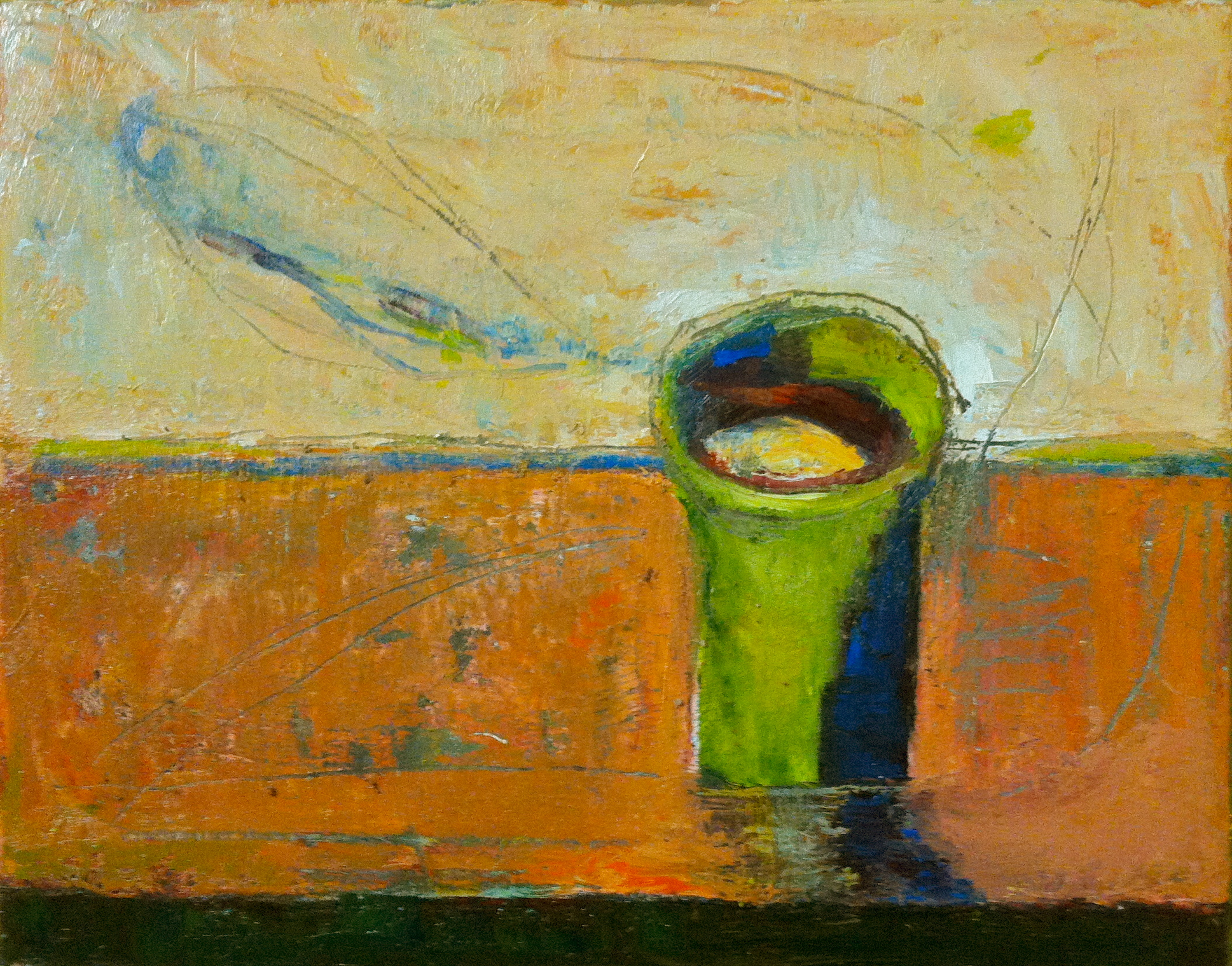 Green cup, oil on canvas, 12x11 inches, 2015