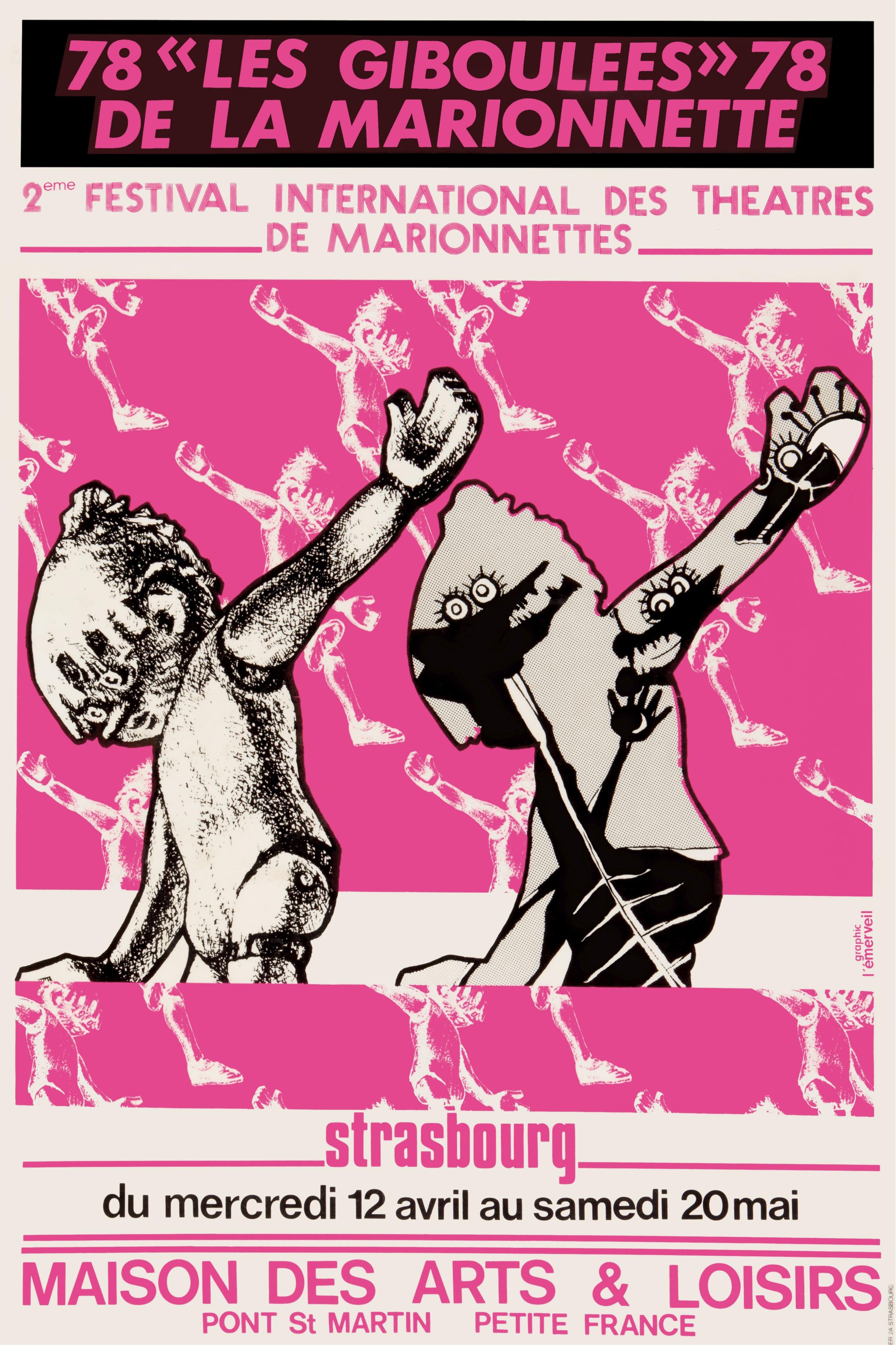 Affiche pour les Giboulées de la marionnette (12 avril-20 mai 1978). Graphiste : Graphic L'émerveil, 120X80 cm. Archives TJP, Strasbourg.