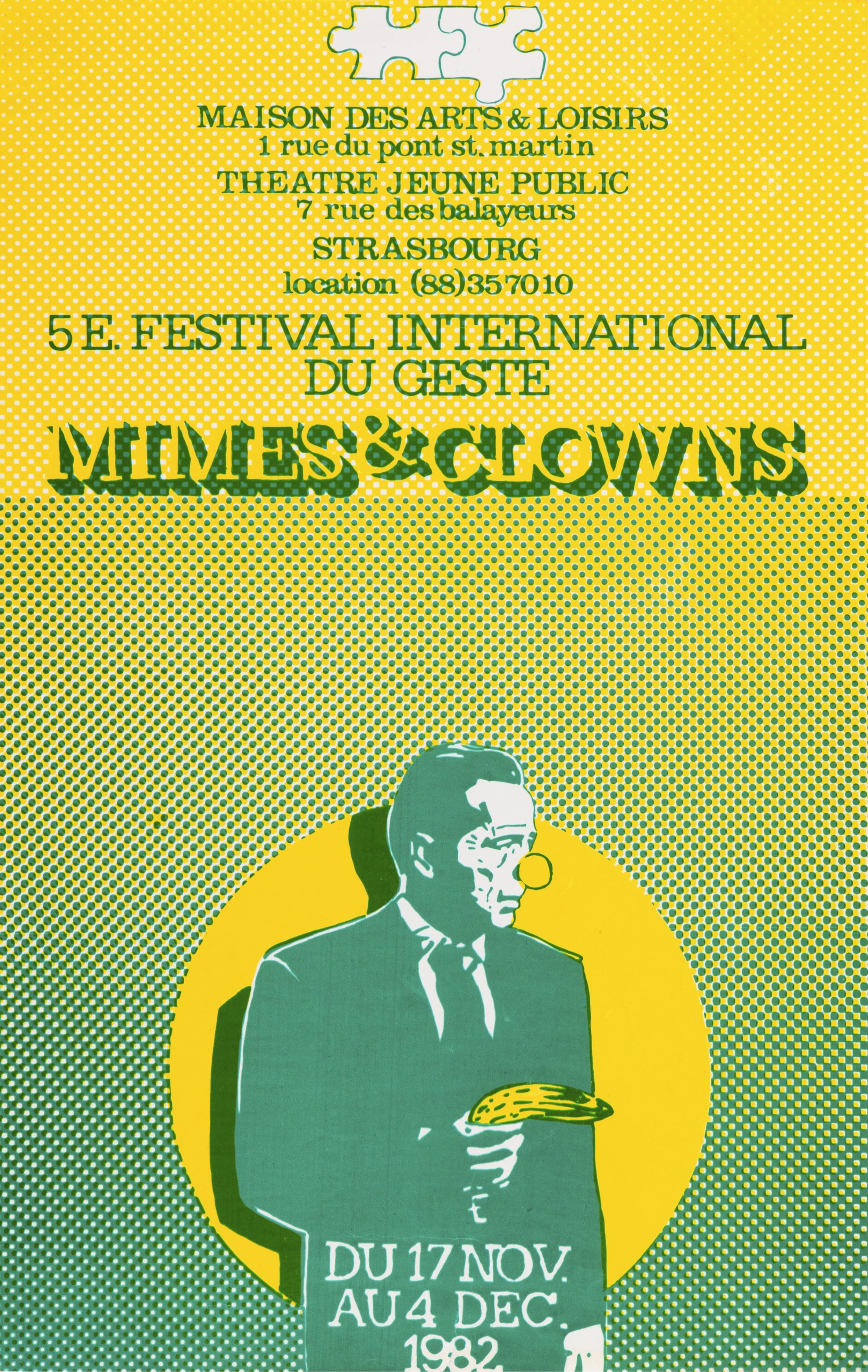 Affiche Mimes & Clowns (17 novembre, 4 décembre 1982). Graphiste : P. Peiffer, 120X80 cm. Archives TJP, Strasbourg.