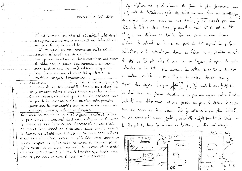 Texted'undétenudel'ancienne Prison Sainte-Marguerite (1988). Textemanuscrit. Droits réservés.Archivespersonnelles d'André POMARAT.