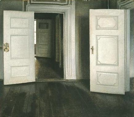 Vilhelm Hammershoi,  Portes blanches ou Portes ouvertes , 1905.