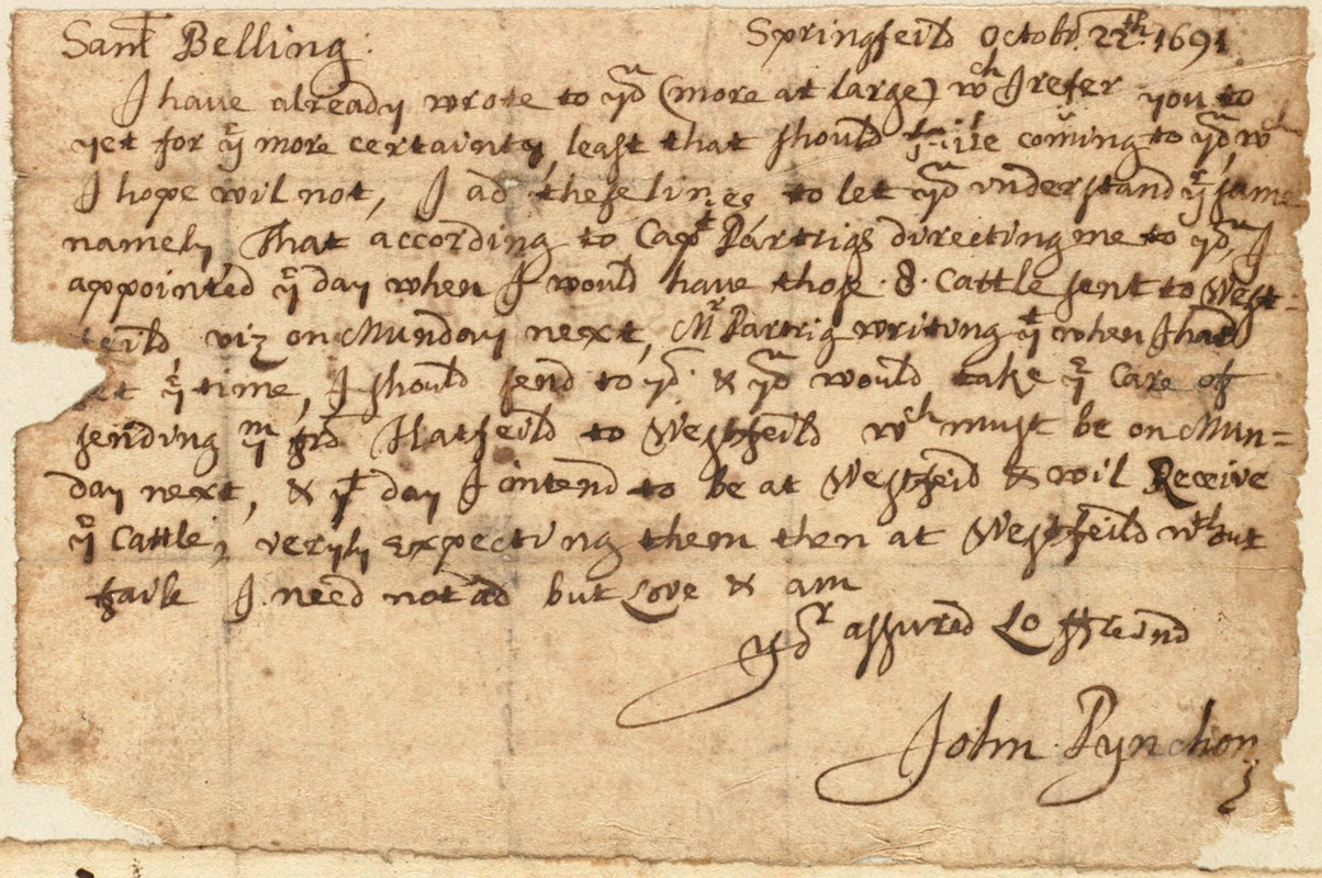 Letter to Sam Belling from John Pynchon in Springfield, Oct. 22, 1691.