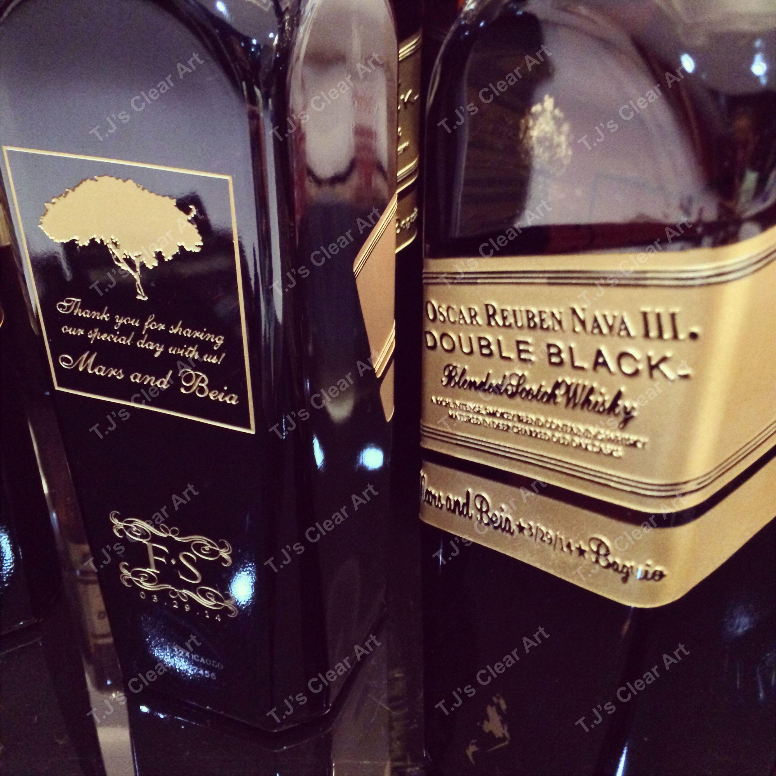 Etched Double Black Label Bottle