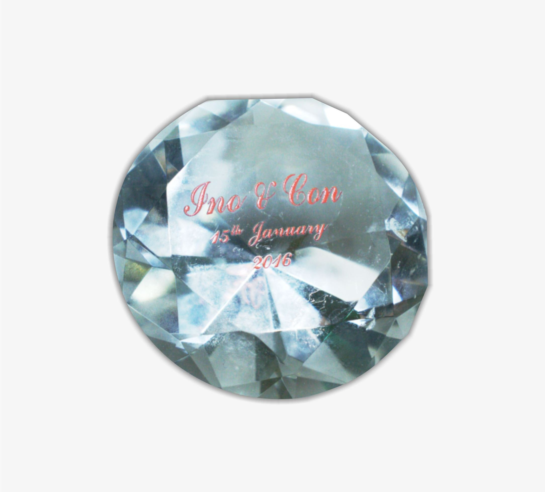 Personalized Crystal Paperweight Wedding Souvenir