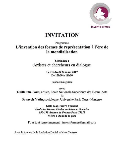 Seminar - L'invention des formes à l'ère de la mondialisationMonde-objet et Objet-monde24 March, 2017séance inauguraleEcole des Hautes Etudes en Sciences SocialesParis, France