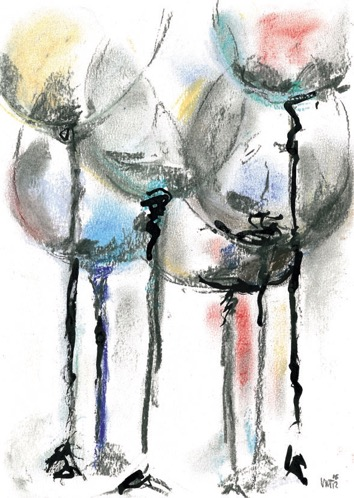 festivity - pastels with ink