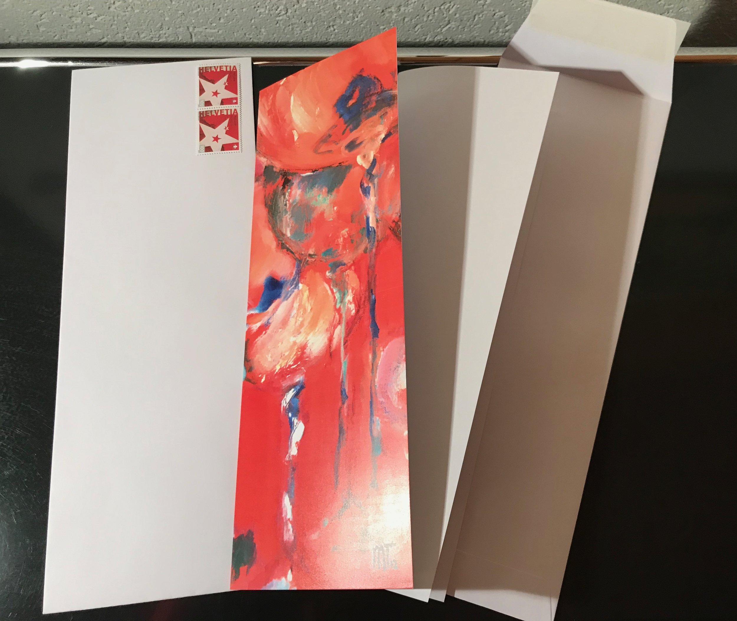 """A4 Einlageblatt hoch gefalten   Karte A4 hoch gefalten (geeignete Sujets im Shop unter """"small and slim"""")  Couvert mit breitem Umschlag (Haftstreifen)  C4-Frankatur beachten"""