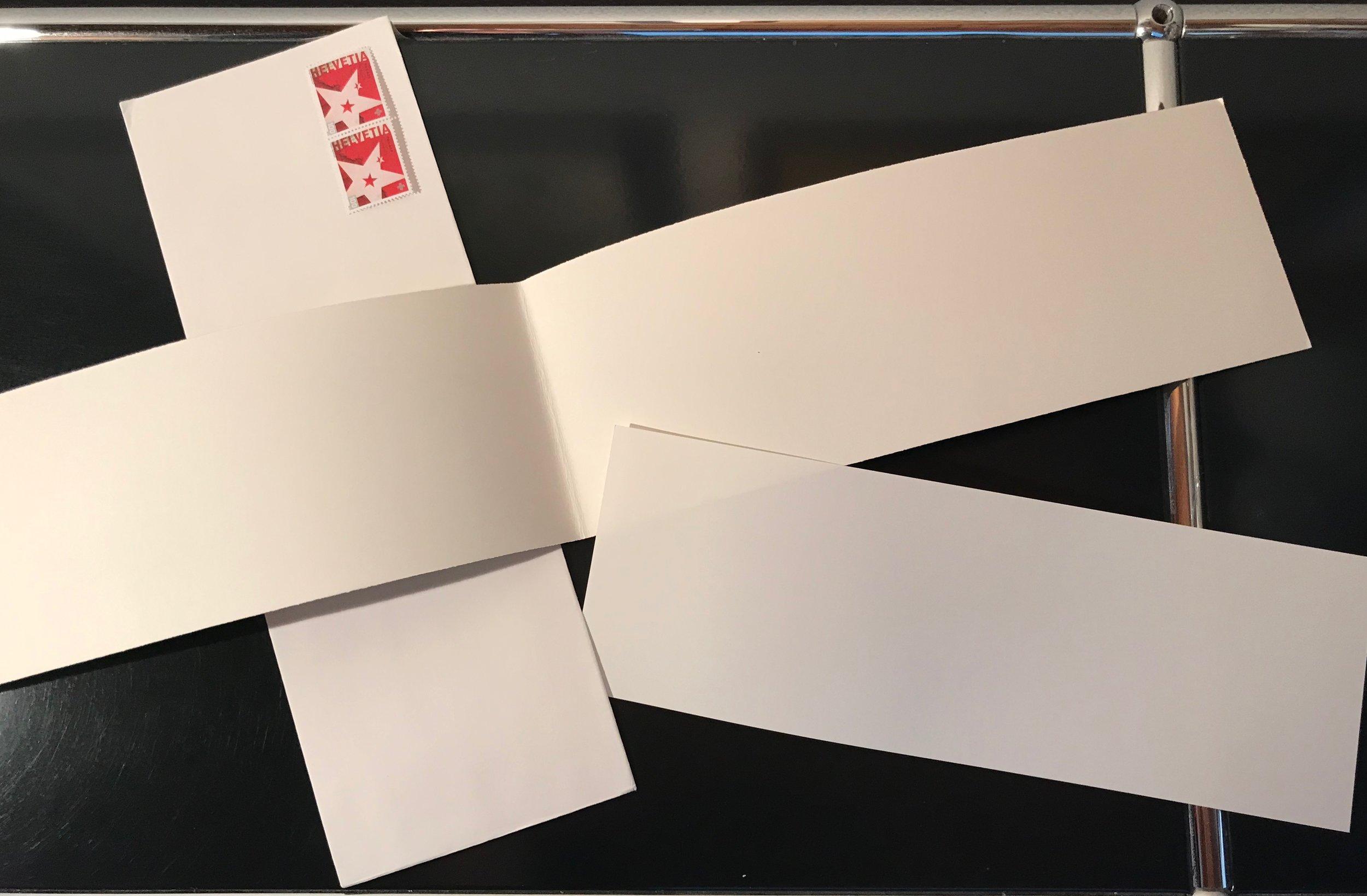 Karten A6/A4 links gefalten neu auch im Digitaldruck   Einlageblatt links gefalten oder einfach  Couvert mit breitem Umschlag (Haftstreifen)  C4-Frankatur beachten