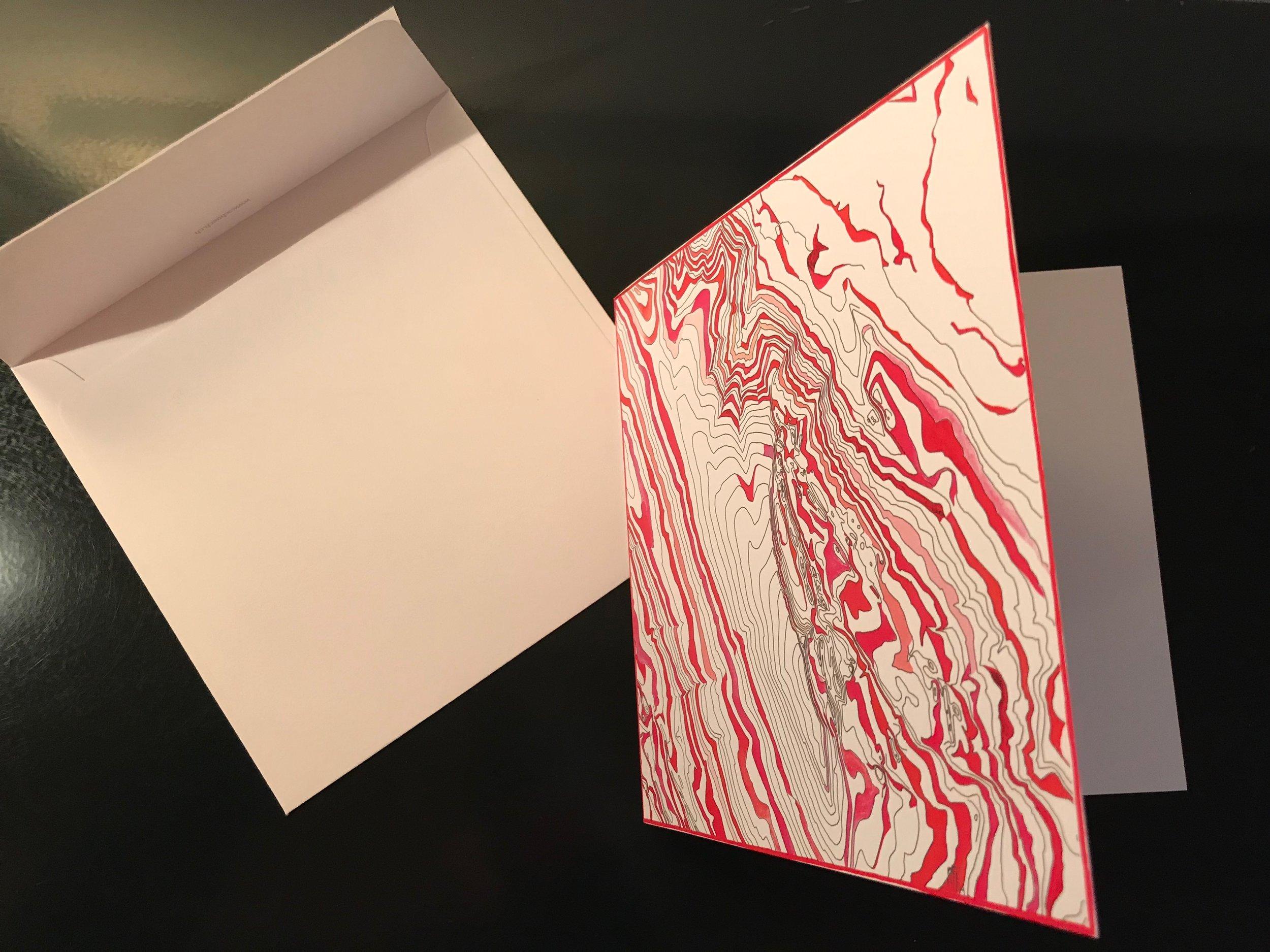 Quadrat-Karten   mit passendem Einlageblatt und Couvert (Haftstreifen)