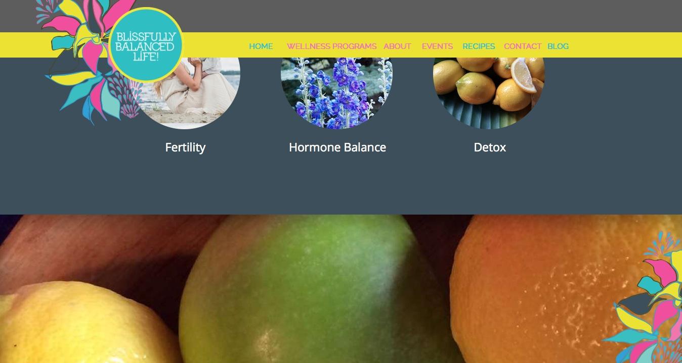 Website developed for Blissfully Balanced Life