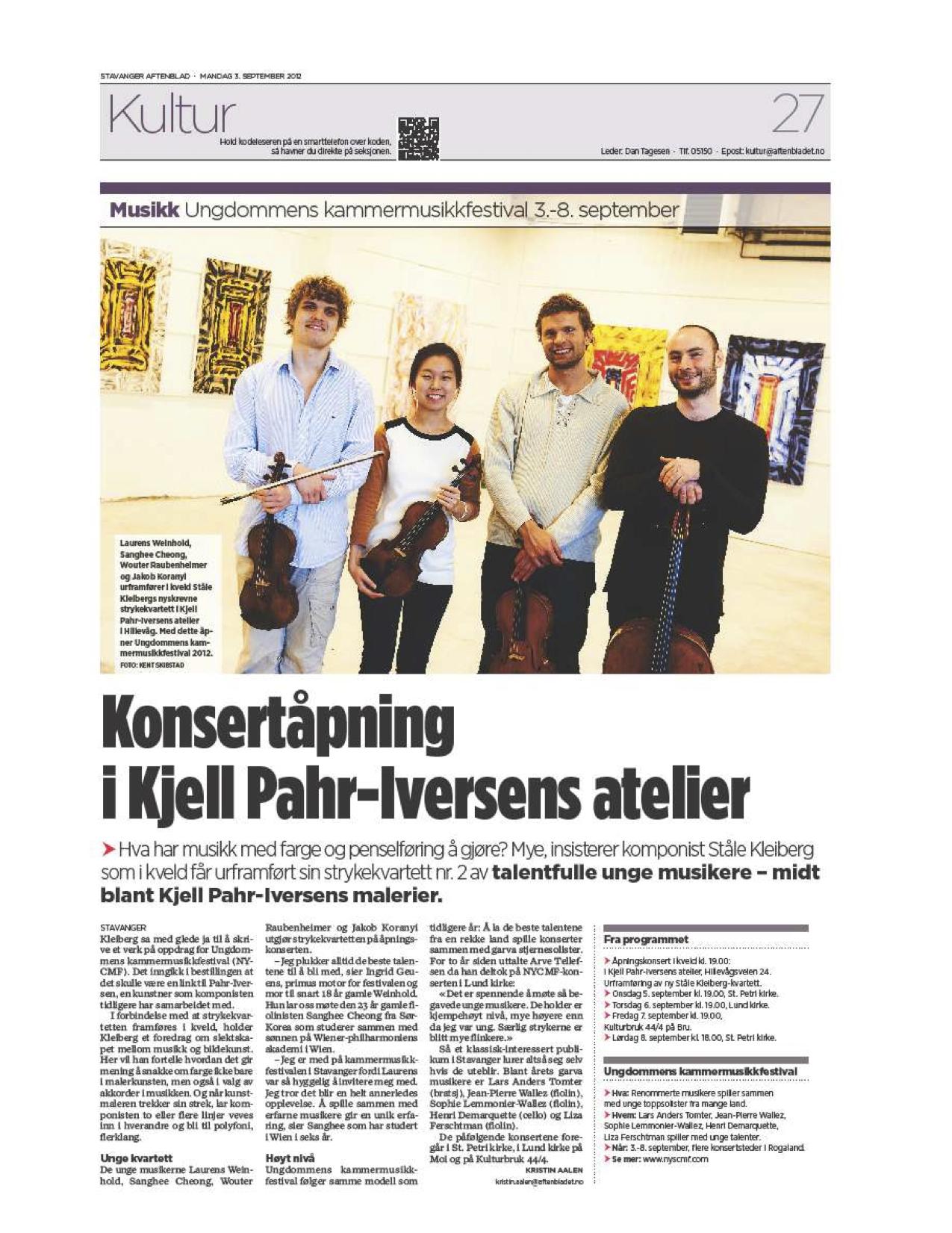 Aftenblad, September 3rd 2012