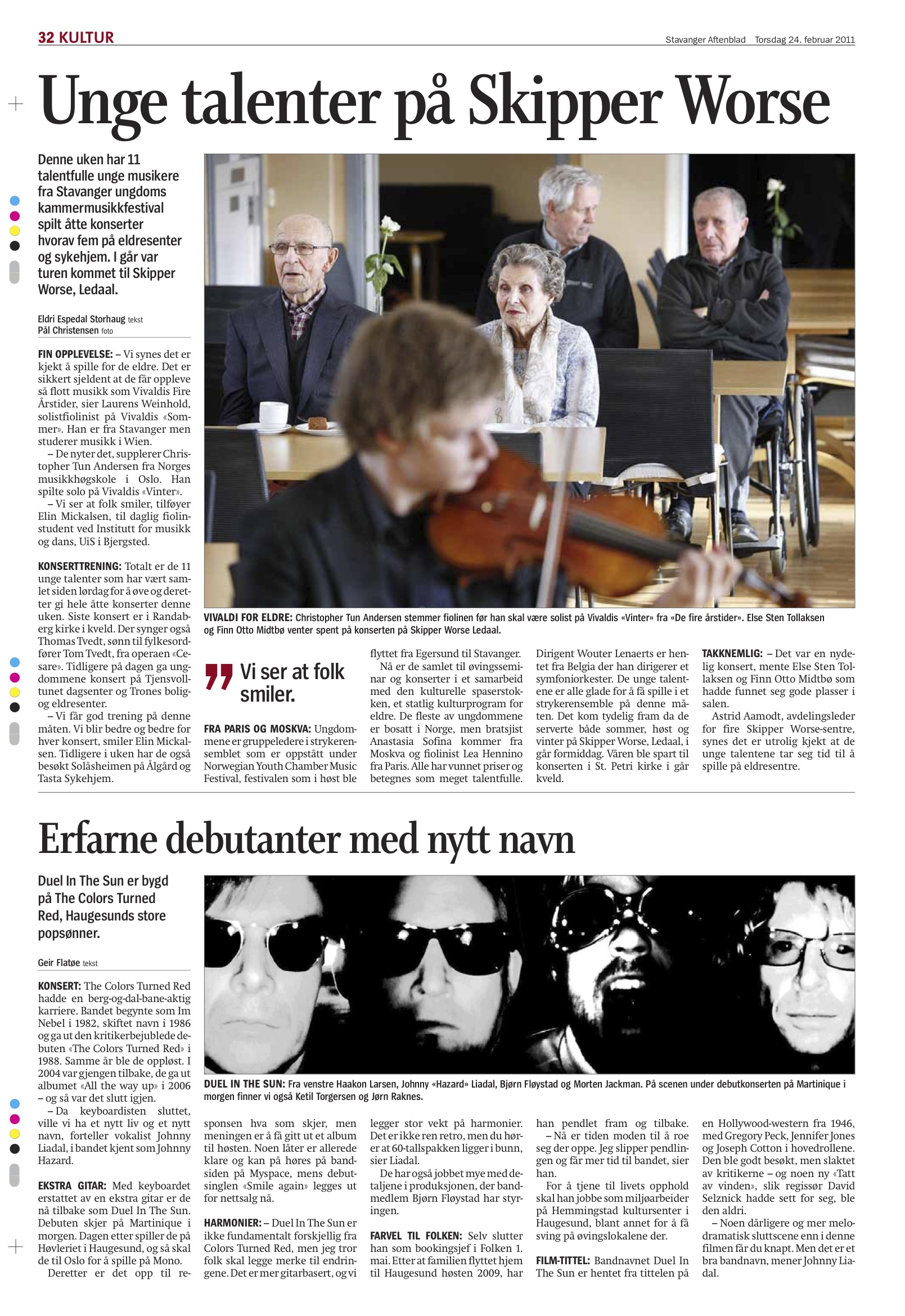 Stavanger Aftenblad, February 24th 2011