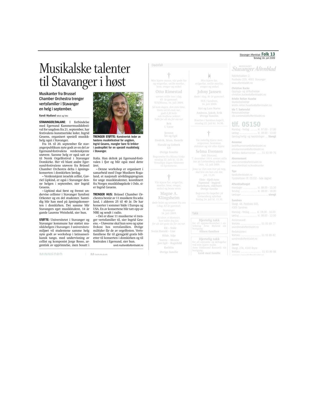 Stavanger Aftenblad - 16. July 2009
