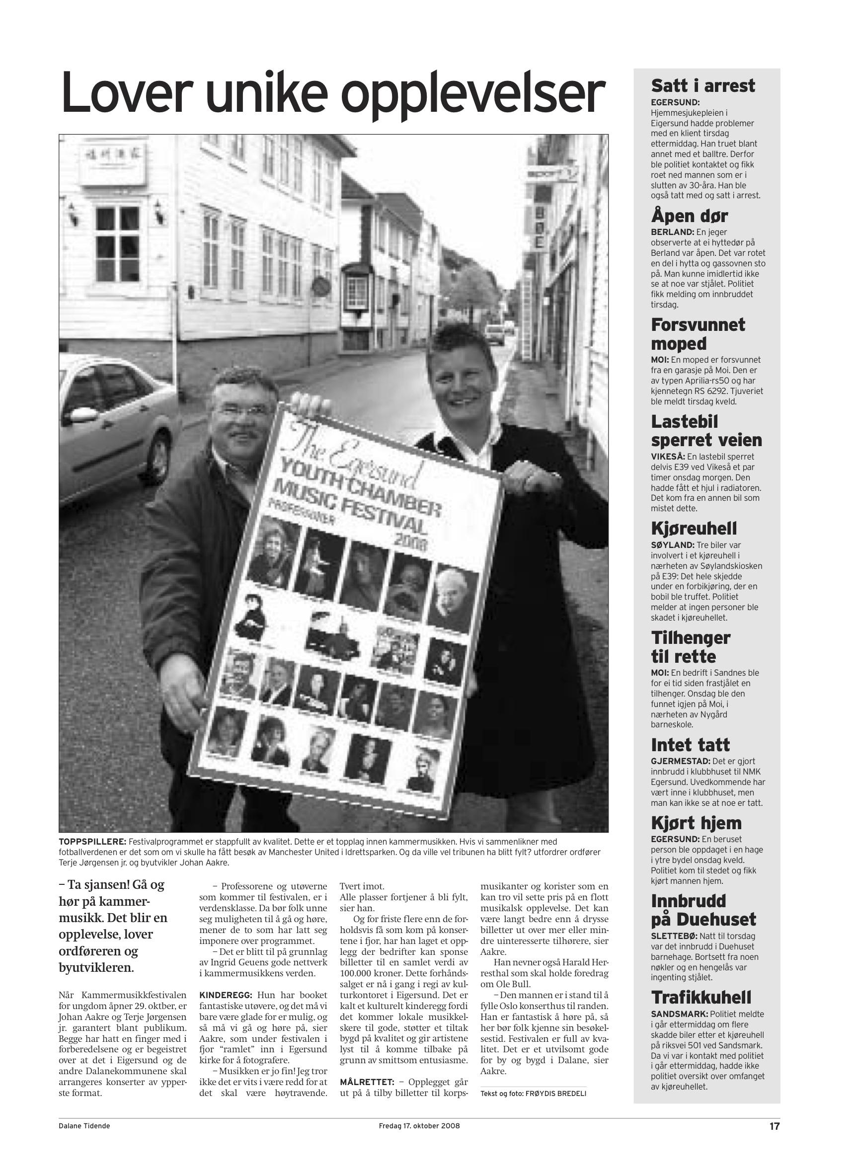 Dalane Tidende - 17. October 2008