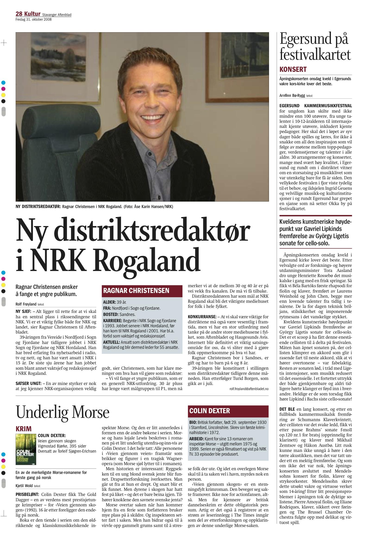 Stavanger Aftenblad - 31. October 2008