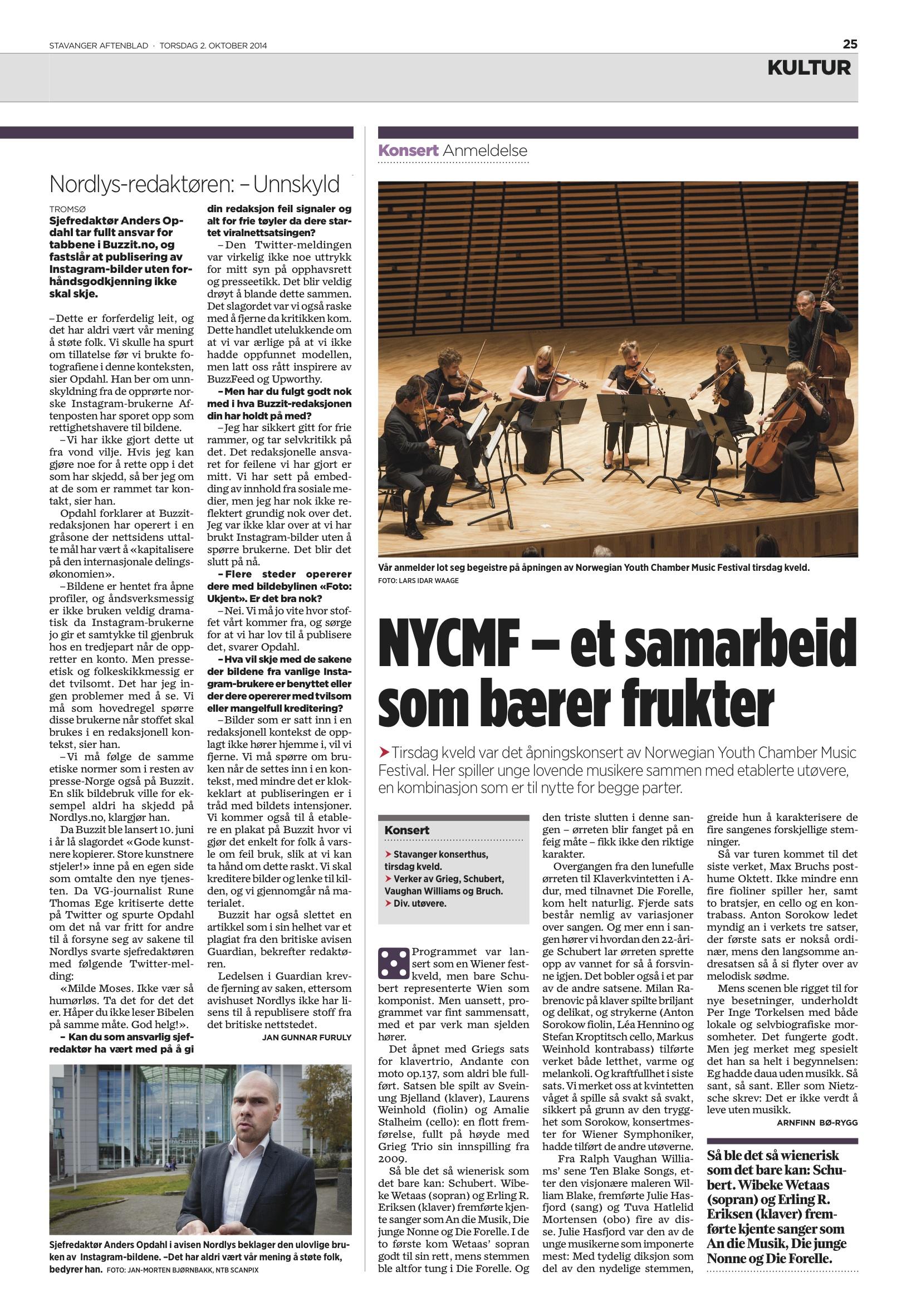 Stavanger Aftenblad - 2. October 2014