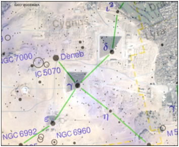 Figure 1A. Map of the pyramids with an overlay of the stars of the constellation Cygnus/ Geb .