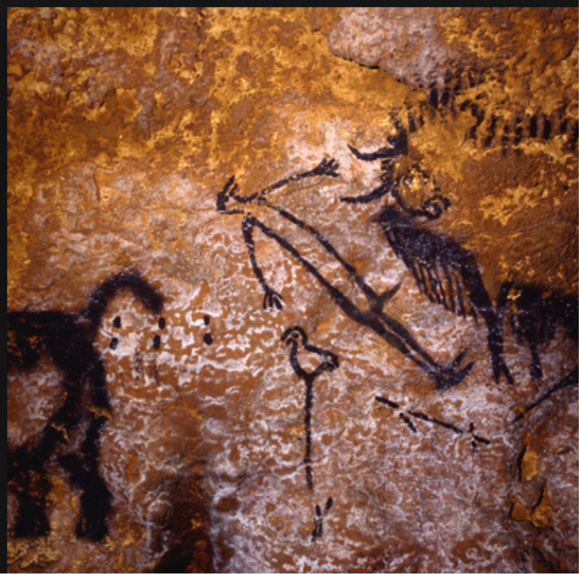 Figure 8. Lascaux image said to represent the area of the North Star that was  Deneb  in the constellation of  Cygnus  ca. 18,000 BCE ( Collins 2014 ).