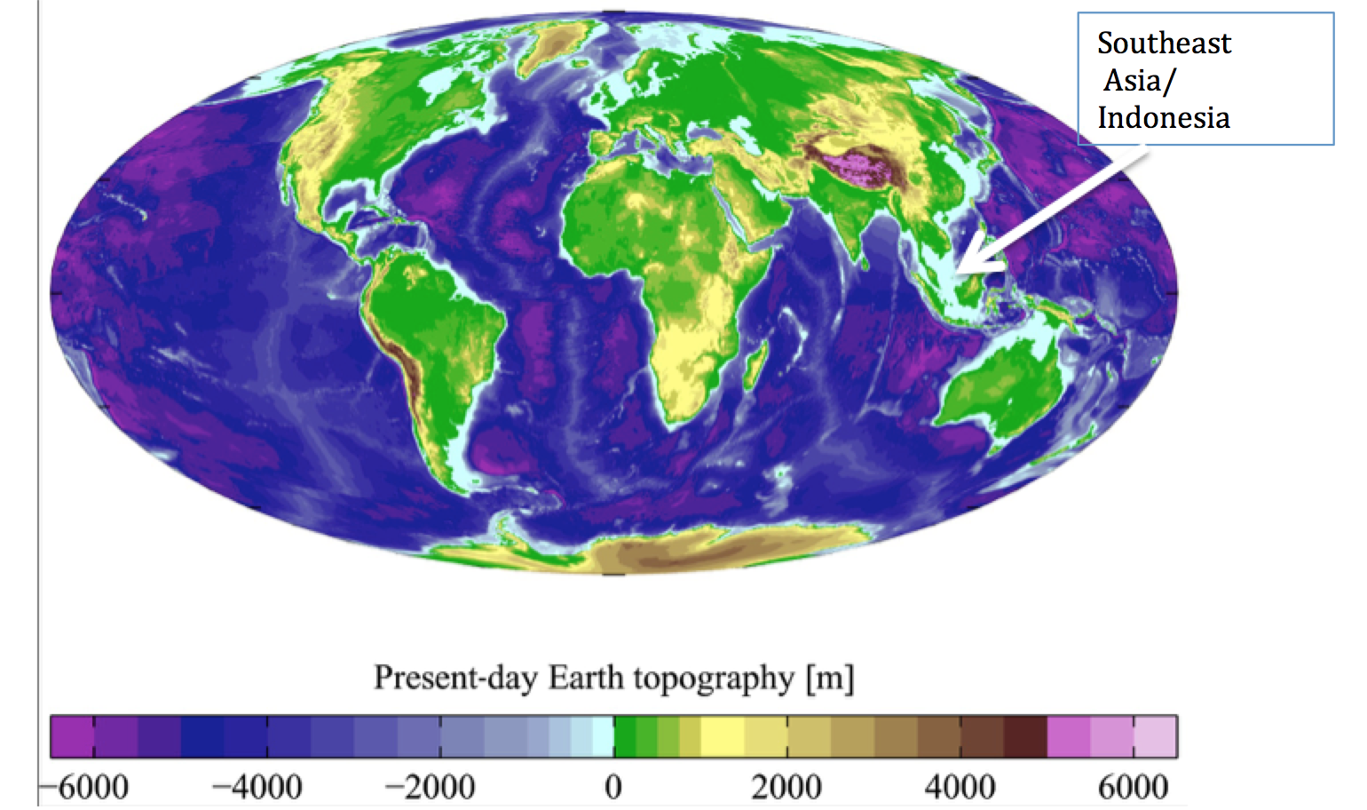 Figure 2. An image of the present day land elevation and sea levels. The light blue colored areas are roughly 100 m deep and would have been exposed land prior to the Younger Dryas period. ( https://en.wikipedia.org/wiki/Bathymetry#/media/File:AYool_topography_15 )