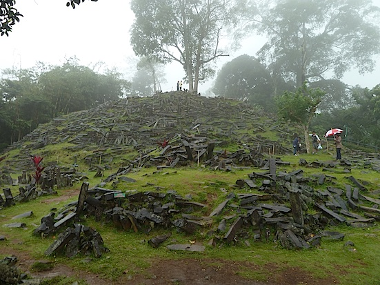 Figure 4. Terrace 1 at Gunung Padang viewed from the north (copyright, Andrew Collins, 2015).   http://andrewcollins.com/page/news/eq_0515.htm