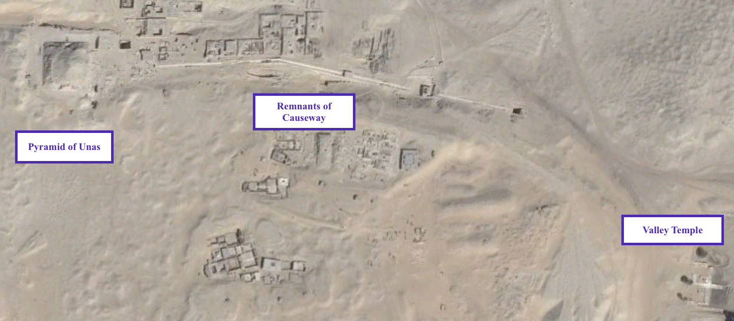 igure            SEQ Figure \* ARABIC      1        . Pharaoh Unas' pyramid complex with the Valley Temple in the lower right and pyramid in the upper left. The remnants of the connecting, partially enclosed causeway can be seen running through the middle of the figure (Google Earth).