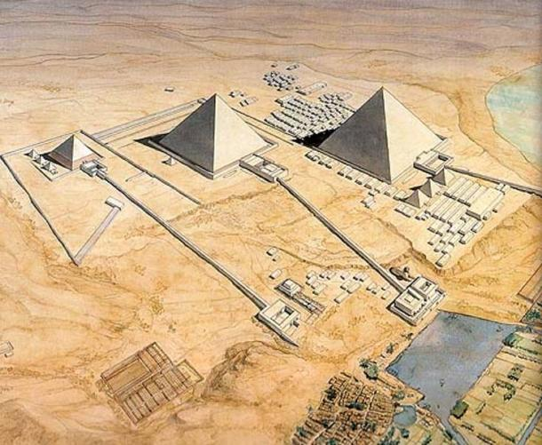 Figure            SEQ Figure \* ARABIC      2        . Artist's reconstruction of the Pyramid Complexes for the three Great Pyramids of Giza   [7]    Note the Nile marina in the lower right hand corner.