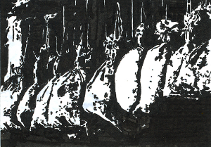 Sacks in a barn  Calligraphy pen on card stock  (c) Giles 2014