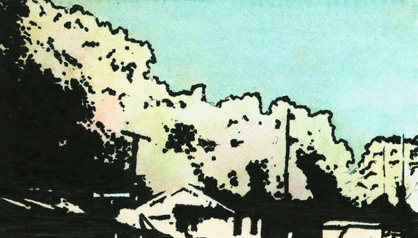 Commuter's landscape  Watercolor and roller ball pen on business card  (c) Giles 2014
