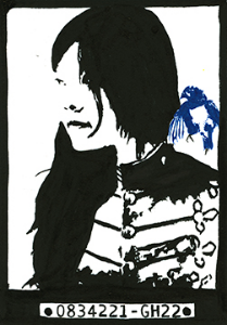 0834221-GH22    India ink and blue pigment pen on Bristol board    (c) Giles 2014