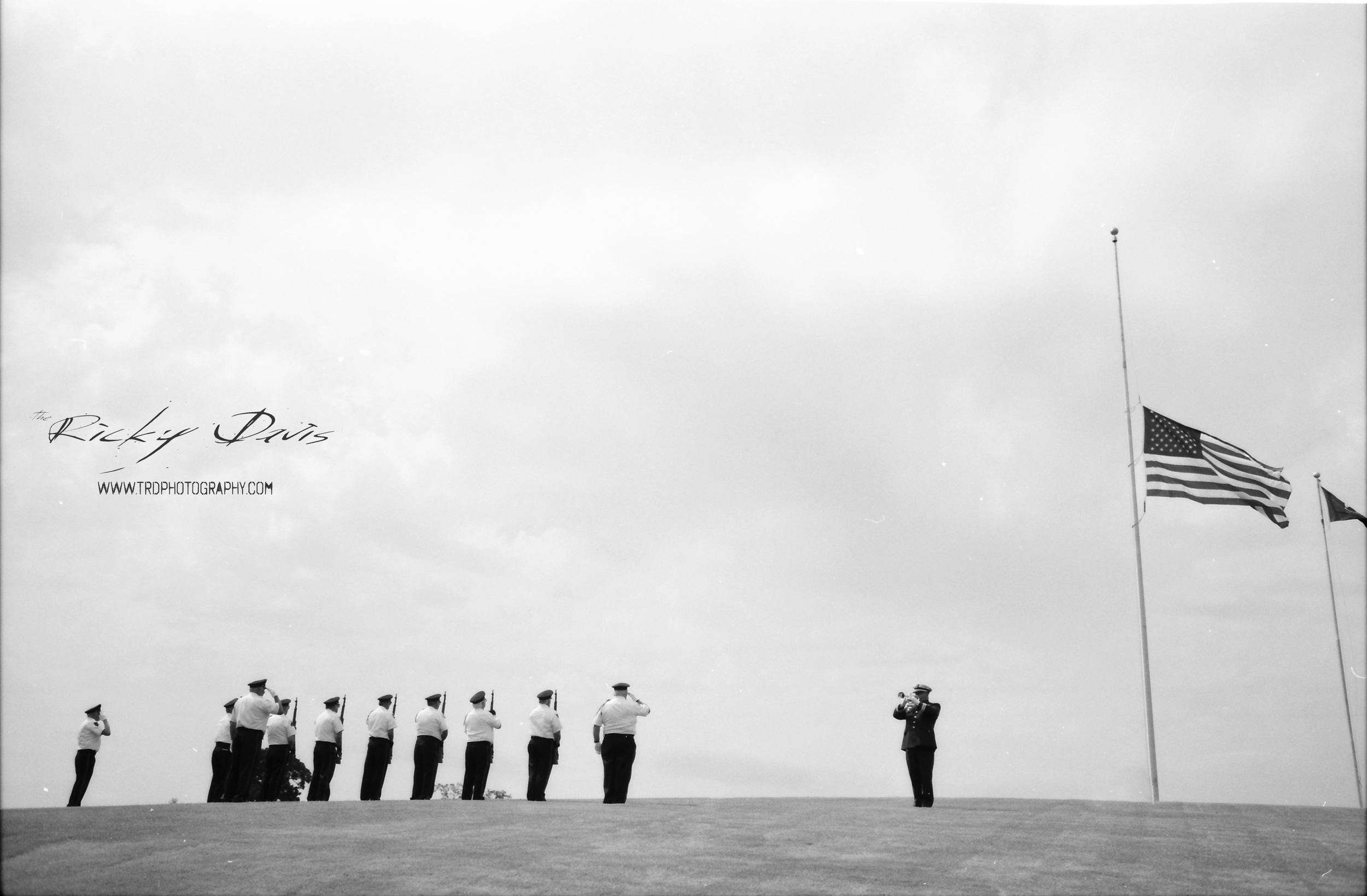 21 Gun Salute and Taps - Vietnam Veterans of America Chapter 203 - Bugles Across America - David A. Cox - Photo by Photographer Ricky Davis of TRD Photography - Film - Tmax 100