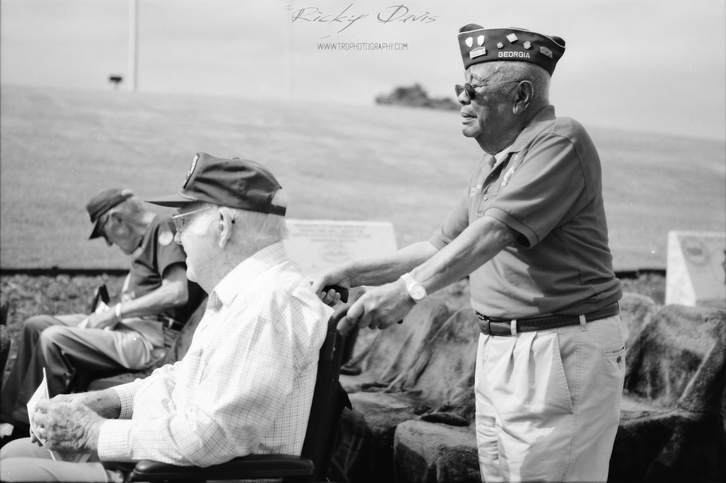 A WWII Veteran being brought to join fellow Vets before the ceremony. Photo by photographer Ricky Davis of TRD Photography - Film - Kodak Tmax100