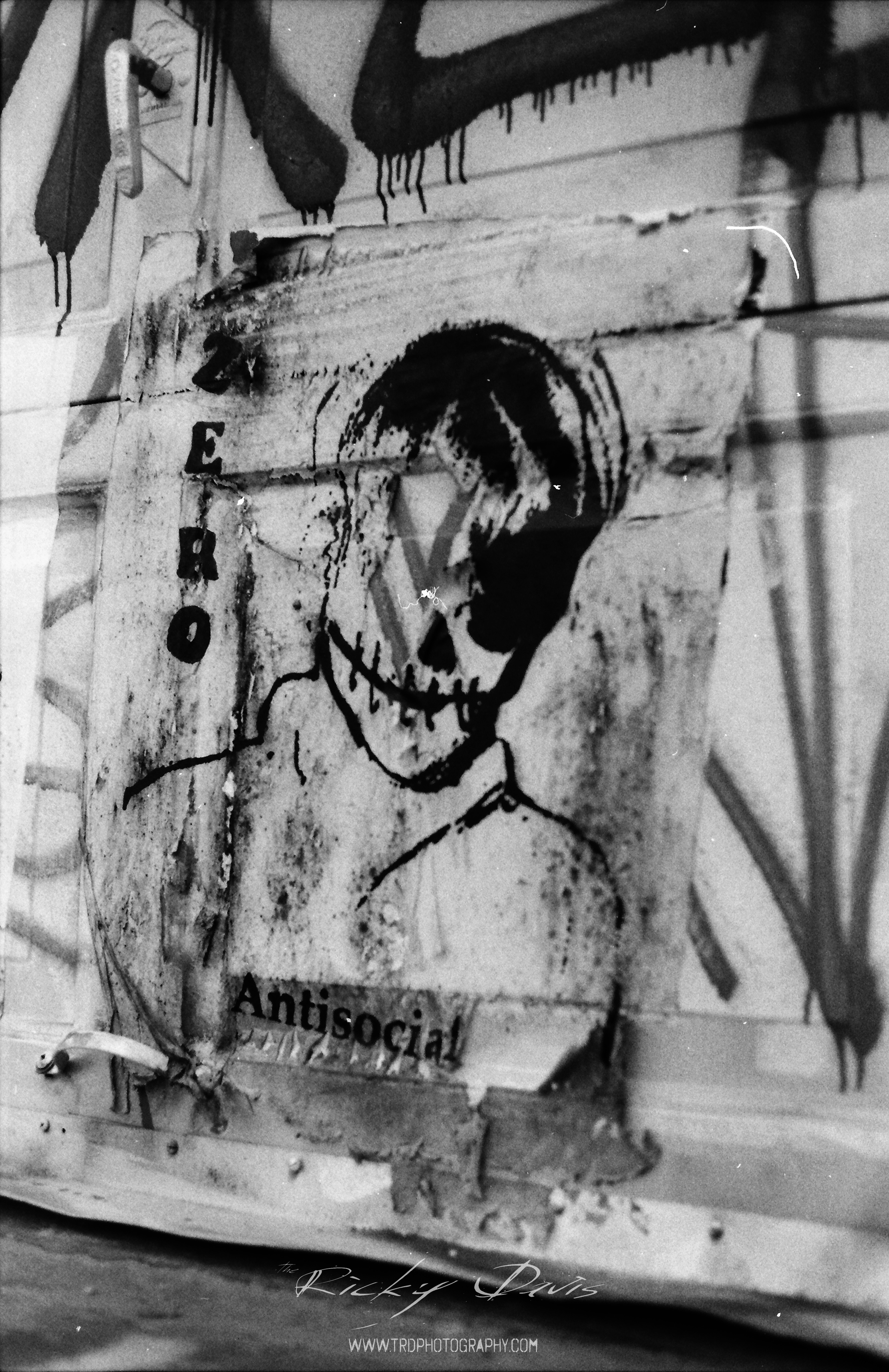 Anti-Social - Street Art - Chattanooga, TN - Film - Expired Neopan SS - Camera - Minolta XG 1 - Photographer Ricky Davis