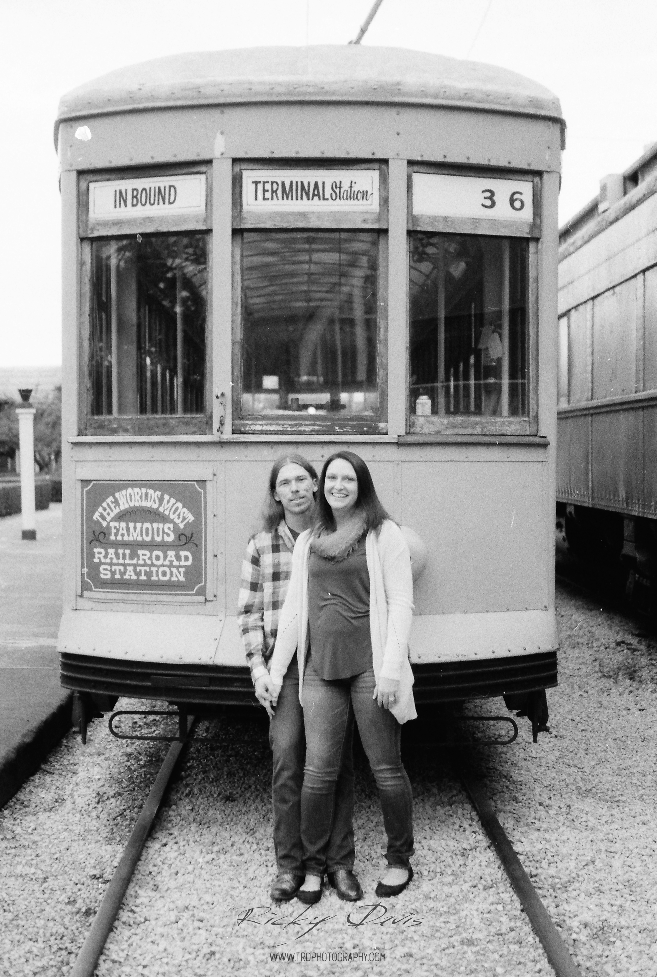 Mandy & Justin outside the Choo-Choo. Film Ilford 3200 at 800 ISO - Photo by Ricky Davis of TRD Photography