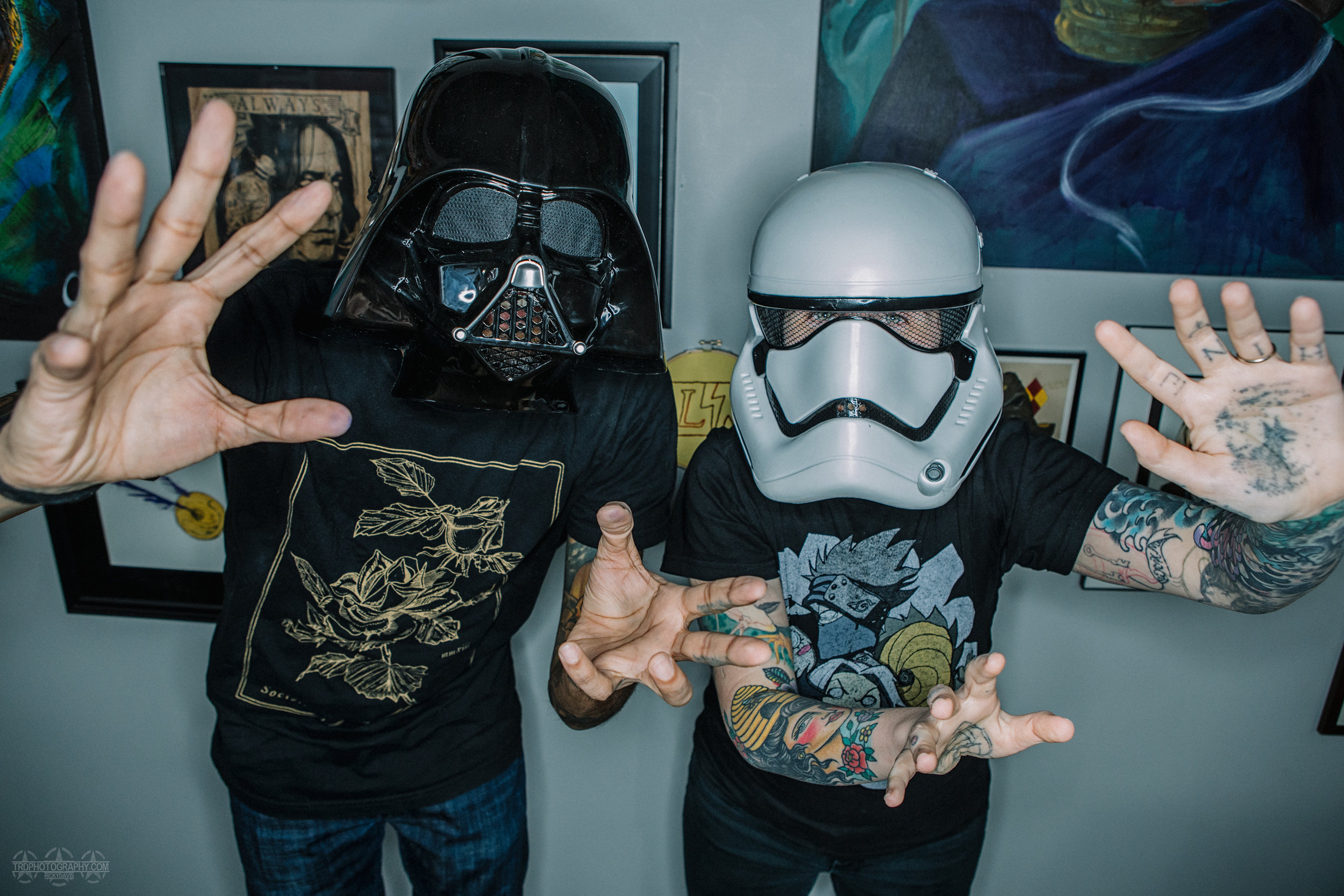 May the 4th at Main Line Ink - TRD Photography - Tattoo Artists Hiren Patel (left) and Kitty Konniption (right)