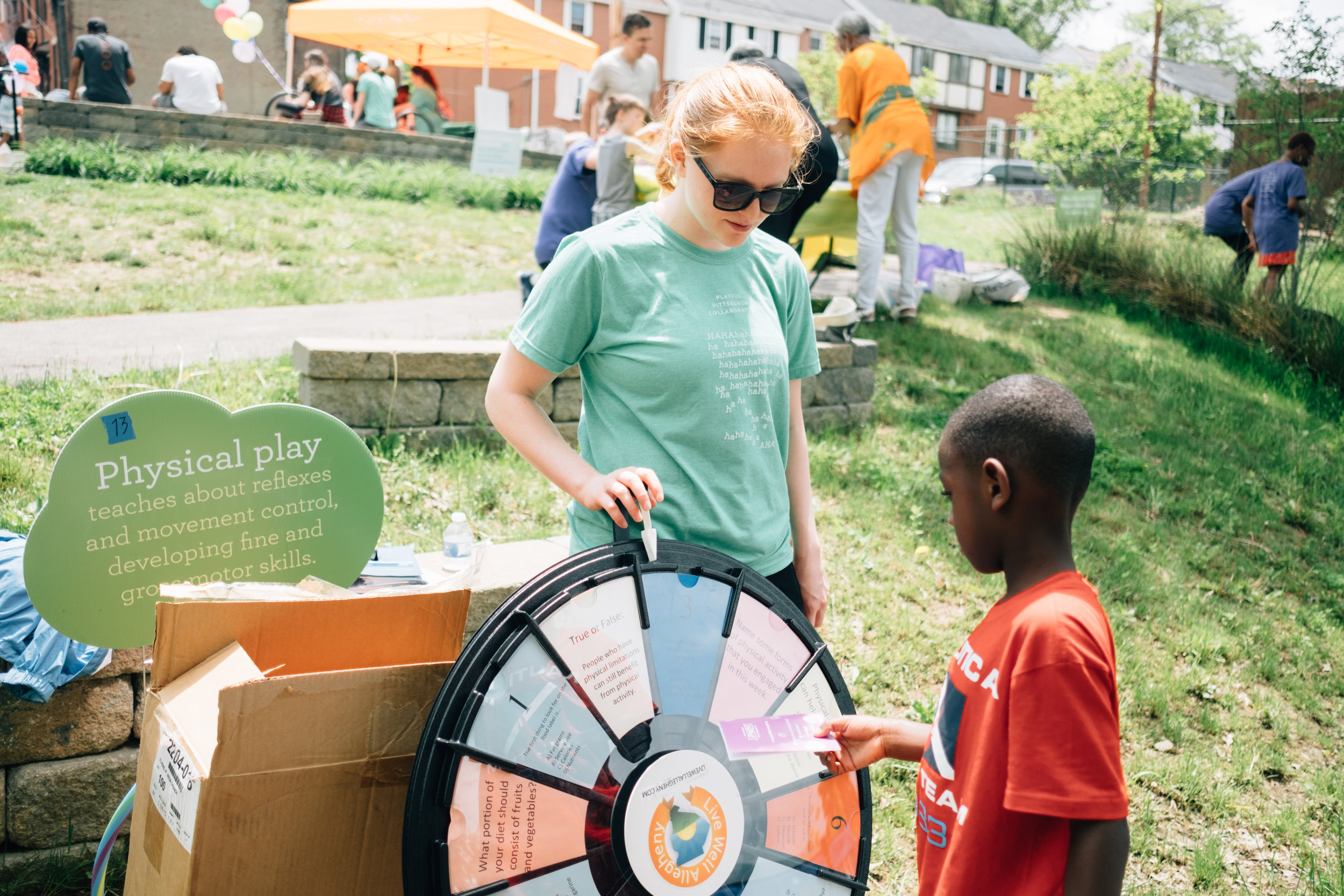 Prize wheel with Live Well Allegheny