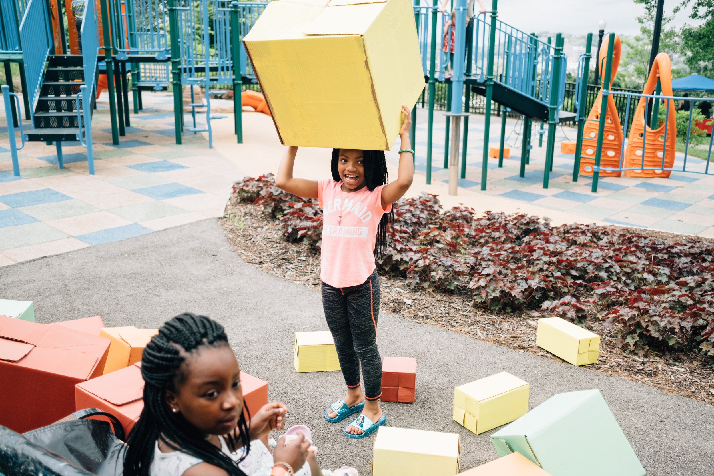 Giant blocks with the Children's Museum of Pittsburgh