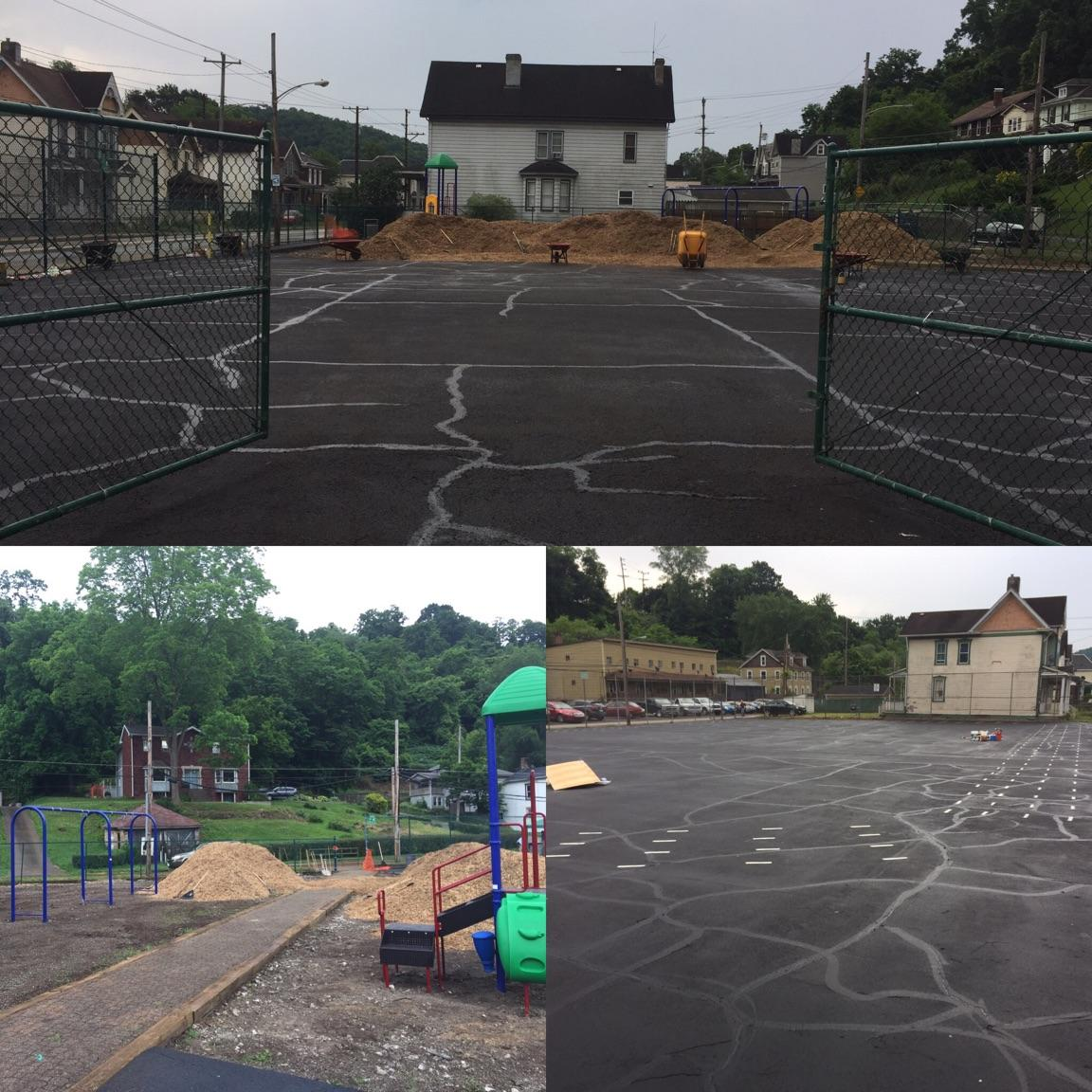 Before and after photos of Larimer Playground in Turtle Creek. Site of the 2017 Day of Action.