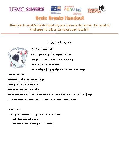 Brain Breaks Handout -