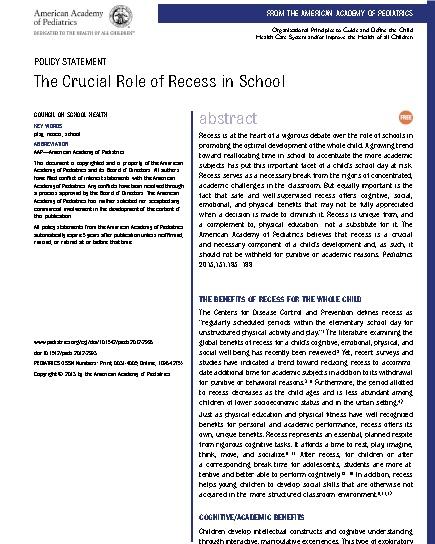 American Academy of Pediatrics Policy Statement -