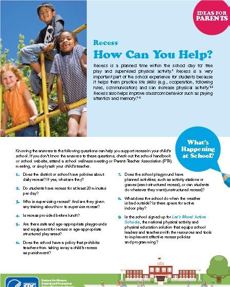 Parents for Healthy Schools Recess Ideas -