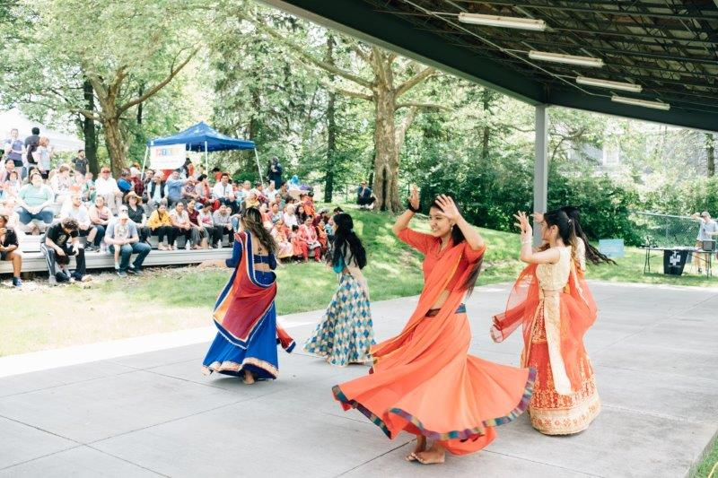 Members from the Bhutanese Community Association of Pittsburgh performing a Nepali cultural dance