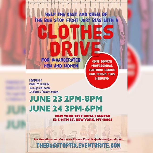 TOMORROW! When you come to check out the Last 3 Shows of our second run , Please bring clean unused professional attire. These clothes will be donated to men and women who do not have the money or professional attire when standing trial, instead of a prison jumpsuit, which would help them get a better ruling with the judge, and fight jury bias. This is more than a production, but we bet you'd be inspired to do so when you come see the show hope to see you soon !!! Tickets in our bio!! Bring a friend. #TheBusStop #MindlezzThoughtz #StayMindlezz