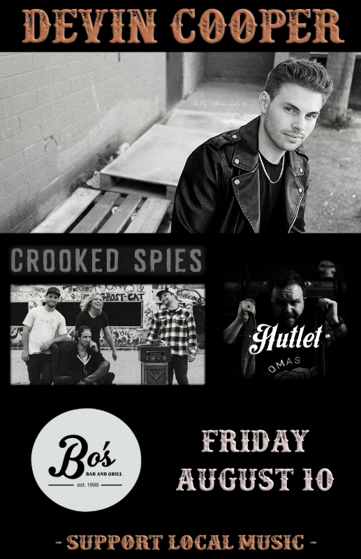 Friday, August 10th @ Bo's Bar & Grill,Red Deer, AB w/ Devin Cooper + Hutlet Red Deer, Ab -