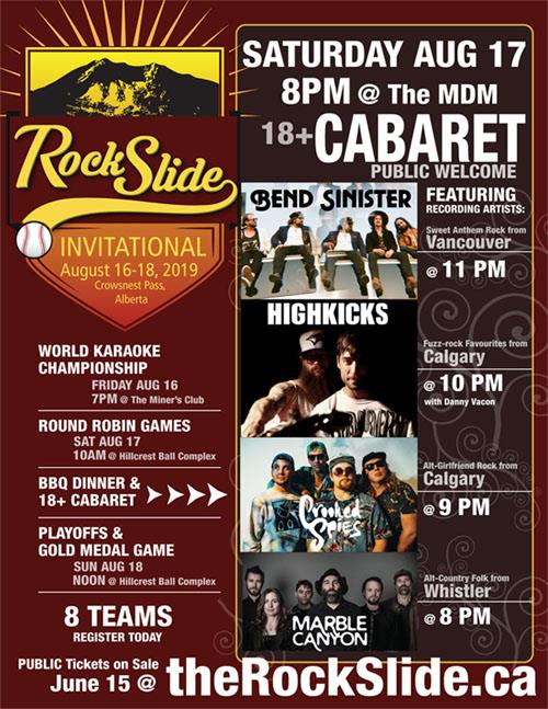 Saturday, August 17th, RockSlide Invitational, Crowsnest Pass w/ Bend Sinister, HighKicks & Marble Canyon -