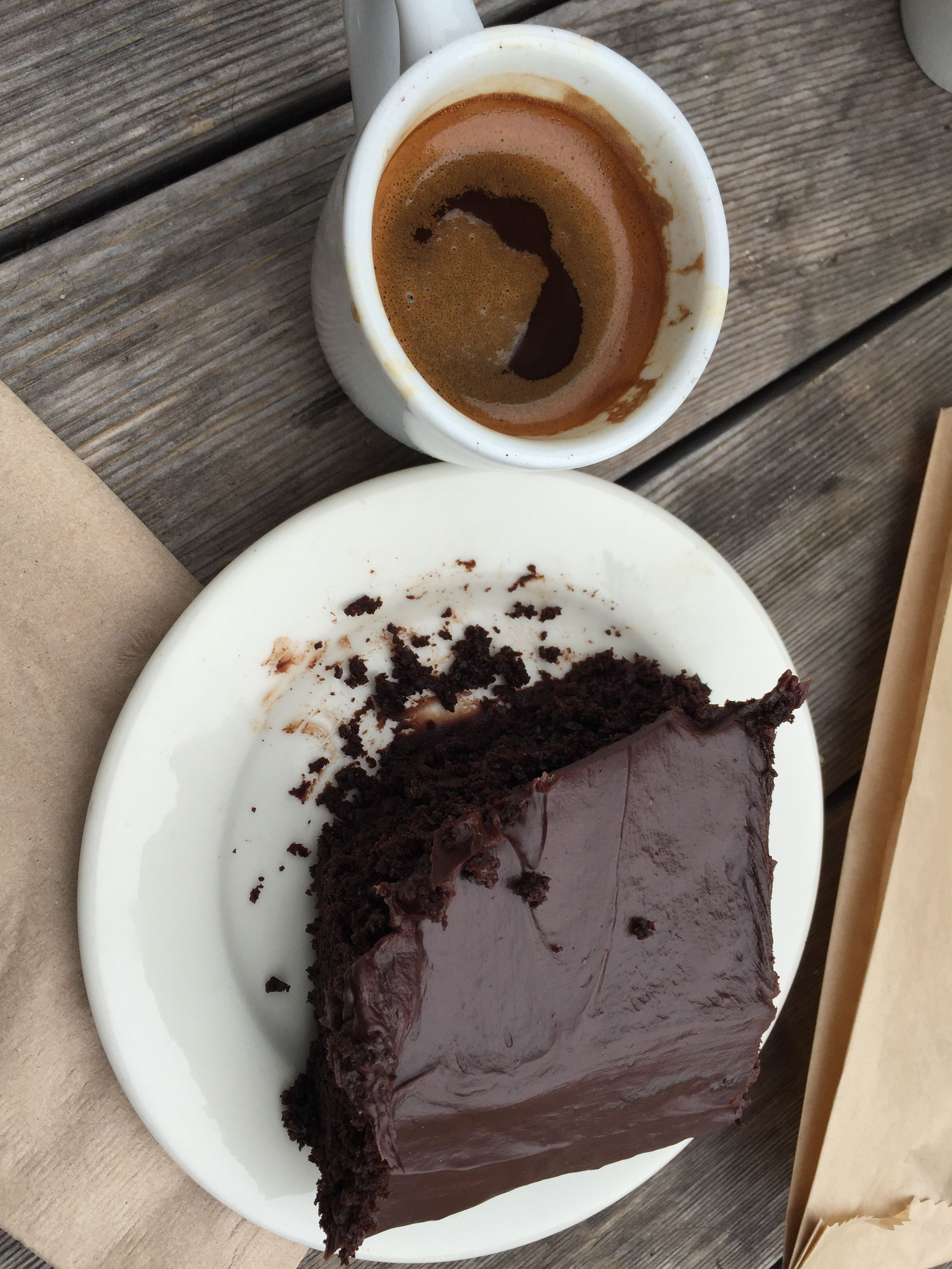 Devil's Teeth Bakery's Chocolate Cake and espresso.