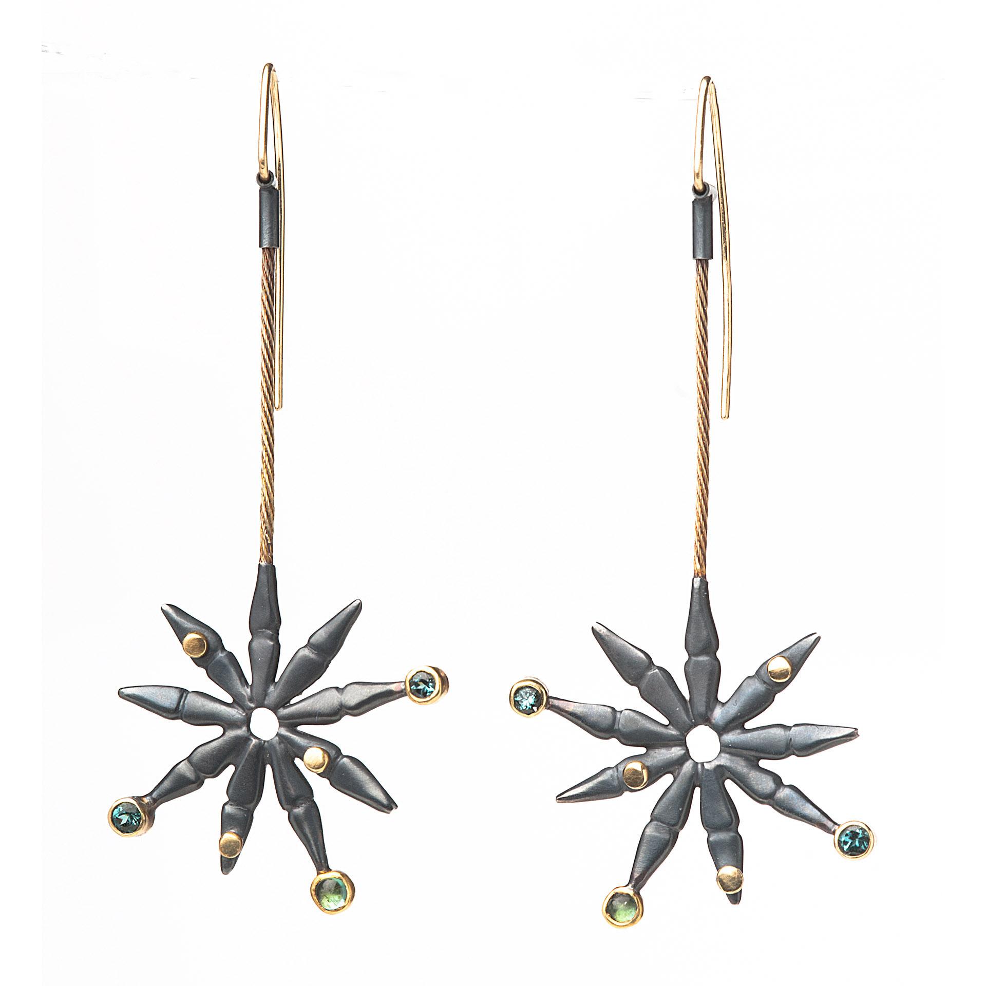 Hanging Garden Earrings in Blues