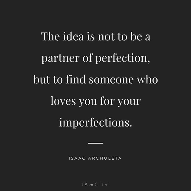 """We think that if we are perfect--having achieved stature in our careers, fitness, thoughtfulness, or social appraisals--that we will keep someone happy. This cannot be farther from the truth. Healthy relationships do not thrive when one can say, """"My partner is perfect,"""" They thrive when one can say, """"My partner isn't perfect, but they always clean up their mess, ask for an apology, take responsibility for their actions, and grow so that we might be healthier."""" We can create the love lives we want when we lovingly cherish our partner(s) for what they bring to the table, not who they might be when they are perfect. . #pride #lgbtqtherapy #gaytherapy #gaycouples #lgbtq #lgbt #faithfullylgbt #trans #lesbian #gay #queer #gaypride #couplescounseling #gaycouplescounseling #iamclinic"""