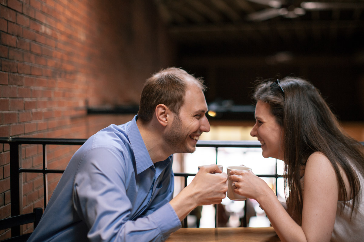 K & E's adorable engagement shoot in my fav coffee shop, bookstore and florist.